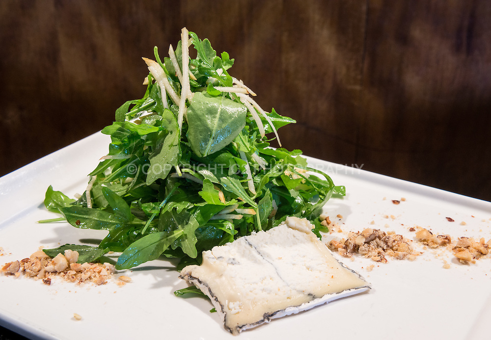 Baby Arugula Salad -- Granny Smith, Hazelnuts, Humboldt Fog.