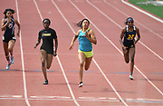 May 19, 2018; Torrance, CA, USA; Ariyonna Augustine of Long Beach Poly (second from right) wins the Division I girls 100m in 11.75 during the CIF Southern Section Finals  at El Camino College. From left: Kayla Thompson (Lancaster), Ezinne Abba (Etiiwanda), Augustine and Sydney Reid (J.W. North).