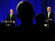 Incumbent Democrat Gov. Dannel P. Malloy, left, and Republican candidate for governor Tom Foley debate in front of an audience, Thursday, Oct. 9, 2014, in Hartford, Conn. (AP Photo/Jessica Hill)