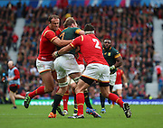 Strong Welsh defence during the Rugby World Cup Quarter Final match between South Africa and Wales at Twickenham, Richmond, United Kingdom on 17 October 2015. Photo by Matthew Redman.