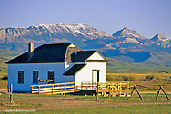 One room schoolhouse, the Bellviw School along the Rocky Mountain Front near Choteau, Montana, USA