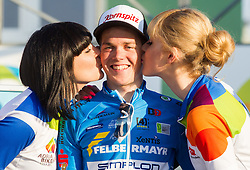 Winner  Gregor Muhllberger of Team Felbermayr Simplon Wels Team (AUT) kissed during trophy ceremony after the UCI Class 1.2 professional race 2nd Grand Prix Izola, on March 1, 2015 in Izola / Isola, Slovenia. Photo by Vid Ponikvar / Sportida