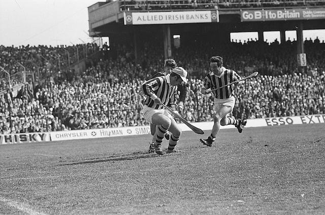 Kilkenny player catches the ball on his hurl <br /> during at the All Ireland Senior Hurling Final, Cork v Kilkenny in Croke Park on the 3rd September 1972. Kilkenny 3-24, Cork 5-11.