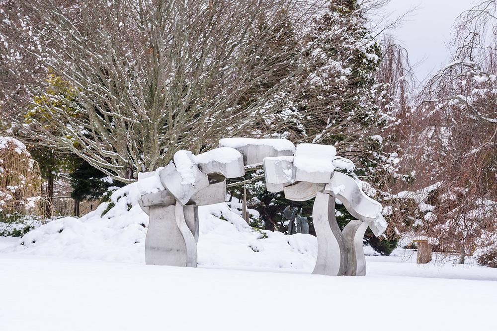 Sculpture by Hans Van de Bovenkamp,  Susan, and Louis K. Meisel Sculpture Garden in the Winter, Sagaponack, NY