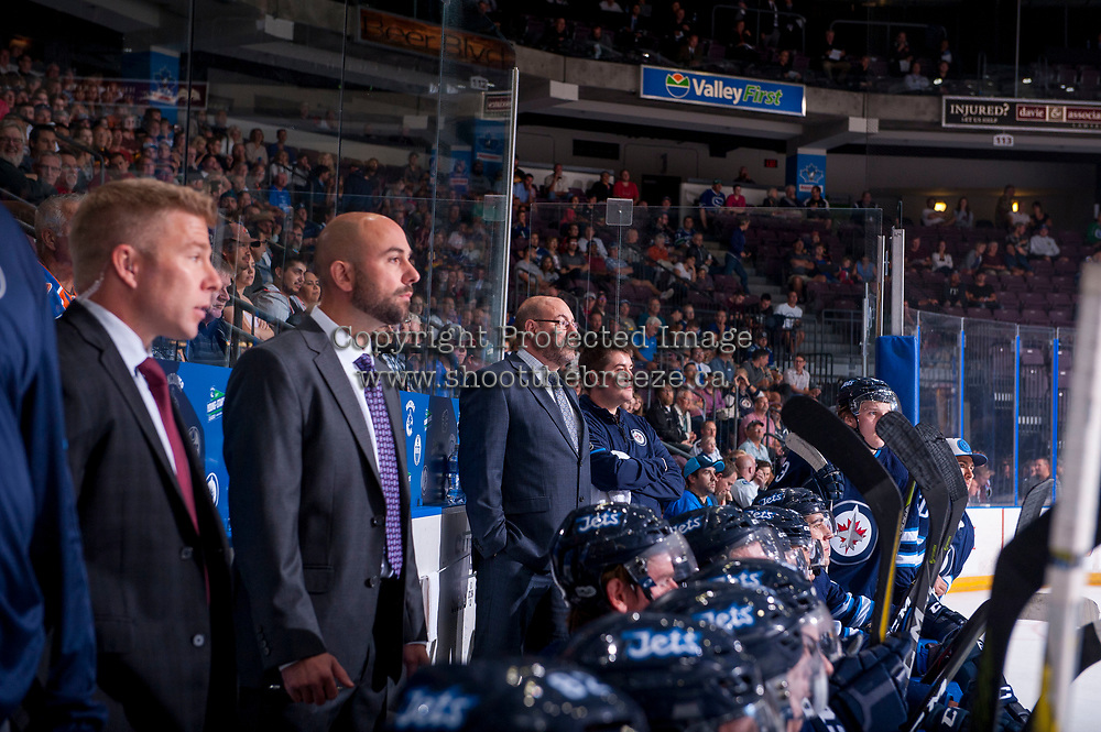 PENTICTON, CANADA - SEPTEMBER 8: The Winnipeg Jets' bench on September 8, 2017 at the South Okanagan Event Centre in Penticton, British Columbia, Canada.  (Photo by Marissa Baecker/Shoot the Breeze)  *** Local Caption ***