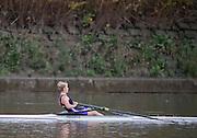 Putney-Chiswick.  Greater  London, UK. Mathilda HODGKINS-BYRNE, winner Women's Wingfield Sculls raced over the         Championship Course, River Thames  Thursday  12/11/2015 <br /> <br /> [Mandatory Credit: Peter SPURRIER: Intersport Images]