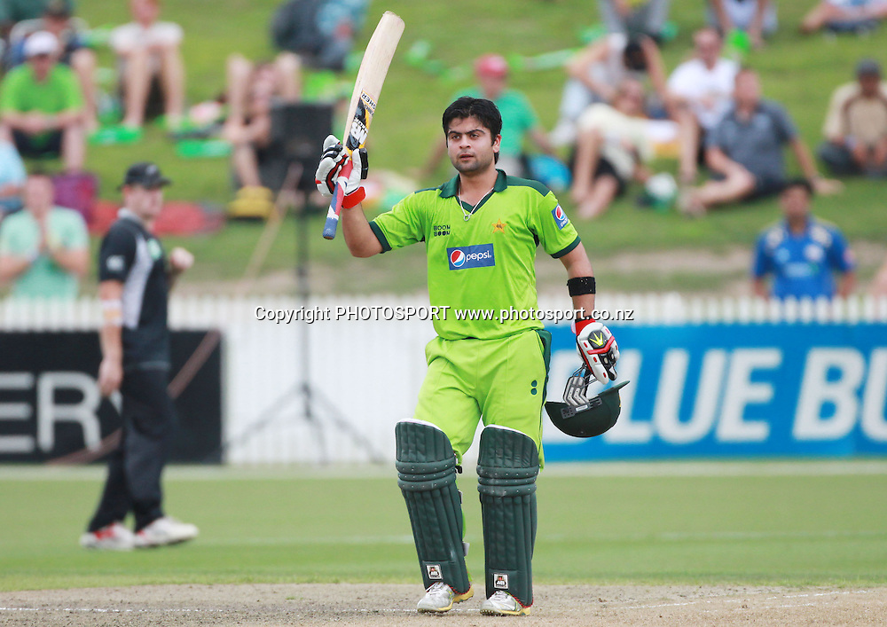Pakistan's Ahmed Shehzad celebrates his century during the 5th ODI, Black Caps v Pakistan, One Day International Cricket. Seddon Park, Hamilton, New Zealand. Wednesday 3 February 2011. Photo: Andrew Cornaga/photosport.co.nz