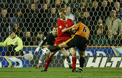 WOLVERHAMPTON, ENGLAND - Wednesday, January 21st, 2004: Liverpool's Sami Hyypia and Wolverhampton Wanderers' Paul Butler during the Premiership match at Molineux. (Pic by David Rawcliffe/Propaganda).. Wolverhampton. Wednesday, January 21st, 2004...Picture by David Rawcliffe/Propaganda..Any problems please call David Rawcliffe on 07973 14 2020 or email david@propaganda-photo.com.