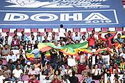 Fans hold an Ethiopian flag during the IAAF Doha Diamond League 2019 at Khalifa International Stadium, Friday, May 3, 2019, in Doha, Qatar (Jiro Mochizuki/Image of Sport)