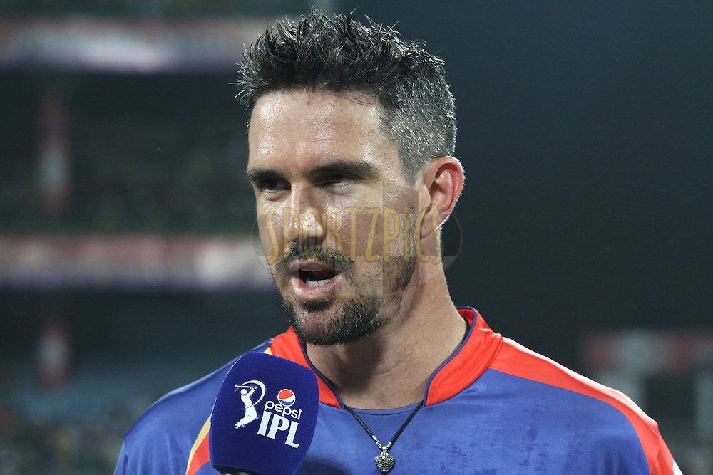 Kevin Pietersen captain of the Delhi Daredevils is interviewed before the toss during match 26 of the Pepsi Indian Premier League Season 2014 between the Delhi Daredevils and the Chennai Super Kings held at the Feroze Shah Kotla cricket stadium, Delhi, India on the 5th May  2014<br /> <br /> Photo by Shaun Roy / IPL / SPORTZPICS<br /> <br /> <br /> <br /> Image use subject to terms and conditions which can be found here:  http://sportzpics.photoshelter.com/gallery/Pepsi-IPL-Image-terms-and-conditions/G00004VW1IVJ.gB0/C0000TScjhBM6ikg
