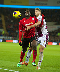 CARDIFF, WALES - Tuesday, February 11, 2014: Cardiff City's Kenwyne Jones in action against Aston Villa's Nathan Baker during the Premiership match at the Cardiff City Stadium. (Pic by David Rawcliffe/Propaganda)