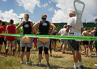 Teams lining up for their events during the Craft Beer Relay at Gunstock Mountain Resort on Saturday.  (Karen Bobotas/for the Laconia Daily Sun)