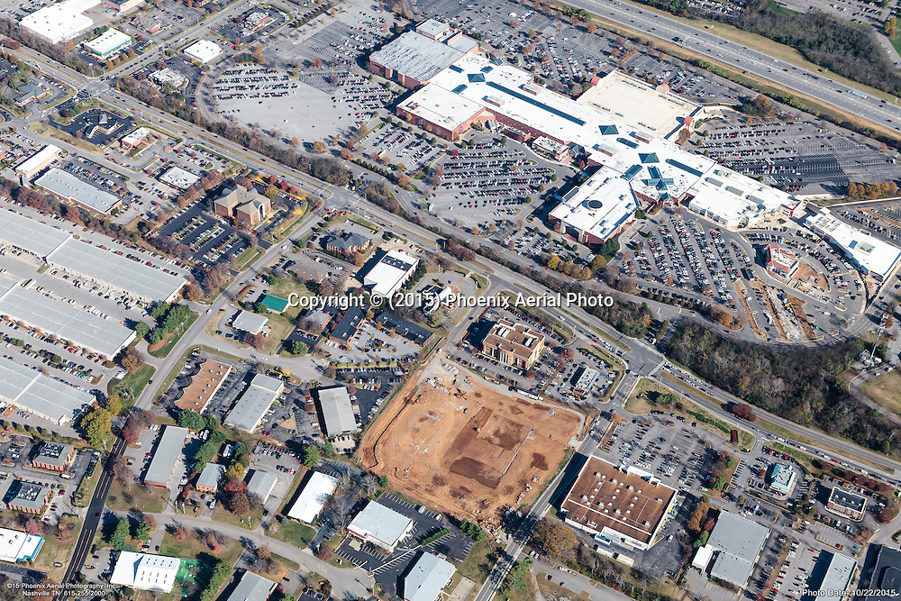 Aerial photo showing the CoolSprings Galleria Mall and surrounding retail in Franklin Tennessee on the Monday before Thanksgiving.