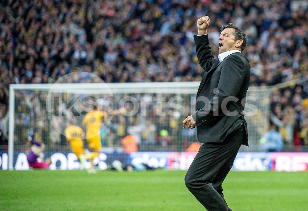 Southend United Manager Phil Brown celebrates the equalising goal during the Sky Bet League 2 Play-Off Final match between Southend United and Wycombe Wanderers at Wembley Stadium, London, England on 23 May 2015. Photo by Liam McAvoy.