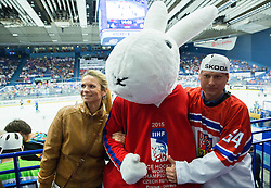 Mascot Bobek with fans during Ice Hockey match between Finland and Slovenia at Day 7 in Group B of 2015 IIHF World Championship, on May 7, 2015 in CEZ Arena, Ostrava, Czech Republic. Photo by Vid Ponikvar / Sportida