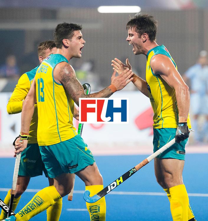 BHUBANESWAR - The Odisha Men's Hockey World League Final . Match ID 02. Australia v India. Jeremy Hayward (Aus) scored 1-1. left Blake Govers (Aus)   .WORLDSPORTPICS COPYRIGHT  KOEN SUYK