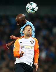 Marlos of Shakhtar Donetsk challenges Fabian Delph of Manchester City - Mandatory by-line: Matt McNulty/JMP - 26/09/2017 - FOOTBALL - Etihad Stadium - Manchester, England - Manchester City v Shakhtar Donetsk - UEFA Champions League Group stage - Group F