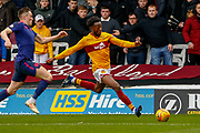 Gboly Ariyibi of Motherwell during the Ladbrokes Scottish Premiership match between Motherwell and Heart of Midlothian at Fir Park, Motherwell, Scotland on 17 February 2019.