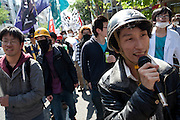 Yuhimaru Takeda protesting at a Zengakuren student union demo at Hosei University Campus. Ichigaya, Tokyo, Japan. Friday April 25th 2014