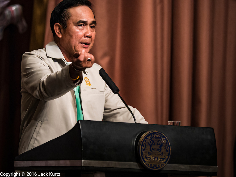 09 JANUARY 2016 - BANGKOK, THAILAND:       PRAYUTH CHAN-O-CHA, the Prime Minister of Thailand, gestures while making a speech during Children's Day festivities at Government House. National Children's Day falls on the second Saturday of the year. Thai government agencies sponsor child friendly events and the military usually opens army bases to children, who come to play on tanks and artillery pieces. This year Thai Prime Minister General Prayuth Chan-ocha, hosted several events at Government House, the Prime Minister's office.      PHOTO BY JACK KURTZ