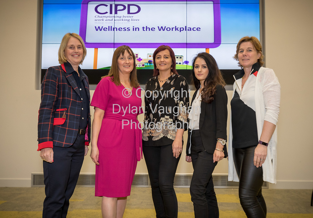 Repro Free No Charge for Repro<br /> <br /> 5-4-17<br /> <br /> CIPD South East Region/Vhi  WELLNESS IN THE WORKPLACE event<br /> Vhi hosted the CIPD South East Region &ldquo;Wellness in the Workplace&rdquo; event at their Purcellsinch offices on Wednesday 5th April 2017.  <br /> <br /> Pictured on the night were the CIPD South East Region committee Mary Ryan, Statia O&rsquo;Carroll, Eimear O'Donoghue, Skaiste Vitkute and CIPD Chairperson, AnneMarie McGrath.<br />  <br /> The event, which was attended by representatives from over 70 South East / local companies, focused on the benefits that Wellness programmes can bring to businesses and highlighted ways that employees and organisations can work together to improve everyone&rsquo;s health and wellbeing.  Speakers outlined the need to take a strategic approach to introducing a healthy workplace and culture and highlighted the benefits that Wellness programmes can bring including improved employee engagement, increased performance and productive levels and decrease absenteeism.<br /> <br /> Picture Dylan Vaughan.