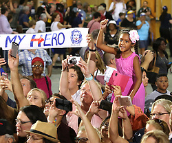 Supporters cheer for Democratic presidential nominee Hillary Clinton during a rally at the Osceola Heritage Park Exhibition Hall on Monday, Aug. 8, 2016 in Kissimmee, Fla. Earlier in the day, Clinton campaigned in St. Petersburg, FL, USA. Photo by Joe Burbank/Orlando Sentinel/TNS/ABACAPRESS.COM