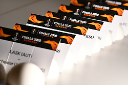 NYON, SWITZERLAND - Friday, July 10, 2020: Draw cards for the Europa League pictured before the UEFA Champions League and UEFA Europa League 2019/20 draws for the Quarter-final, Semi-final and Final at the UEFA headquarters, The House of European Football. (Photo Handout/UEFA)