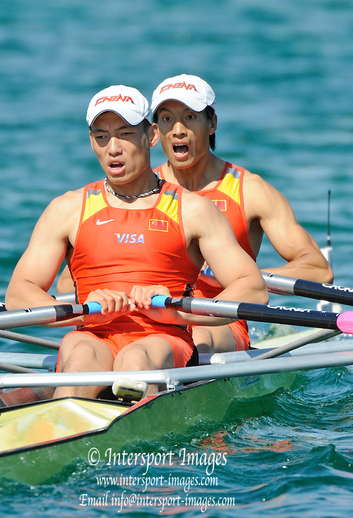 Munich, GERMANY, CHN M2X Bow Zheng CHEN and Hui DU, at the start, at the FISA world Cup Munich, held on the Olympic Rowing Course, 09/05/2008  [Mandatory Credit Peter Spurrier/ Intersport Images] Rowing Course, Olympic Regatta Rowing Course, Munich, GERMANY