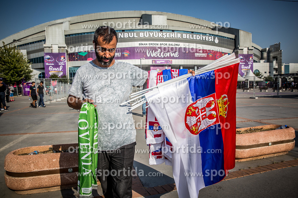 Seller of flags prior to the Final basketball match between National Teams  Slovenia and Serbia at Day 18 of the FIBA EuroBasket 2017 at Sinan Erdem Dome in Istanbul, Turkey on September 17, 2017. Photo by Vid Ponikvar / Sportida