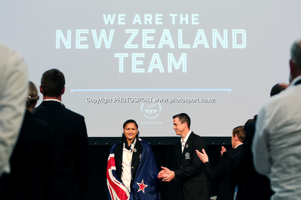 Valerie Adams is named by Chef de Mission Rob Waddell as the New Zealand Flag Bearer for the 2014 Glasgow Commonwealth Games. The Kelvingrove Art Gallery and Museum, Glasgow, Scotland. Tuesday 22nd July 2014. Photo: Anthony Au-Yeung / photosport.co.nz