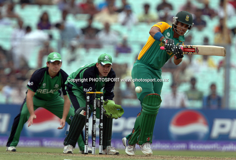 South African batsman JP Dummny playa a shot agianst Ireland during the ICC Cricket World Cup - 34th Match, Group B South Africa vs Ireland Played at Eden Gardens, Kolkata, 15 March 2011 - day/night<br /> (50-over match)