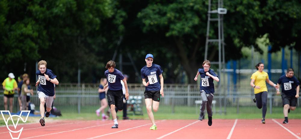 Metro Blind Sport's 2017 Athletics Open held at Mile End Stadium.  100m.  From left, Sam Crowhurst (PLEASE CHECK), Andrew Lancaster, Luke Boulding and Steven Magee <br /> <br /> Picture: Chris Vaughan Photography for Metro Blind Sport<br /> Date: June 17, 2017