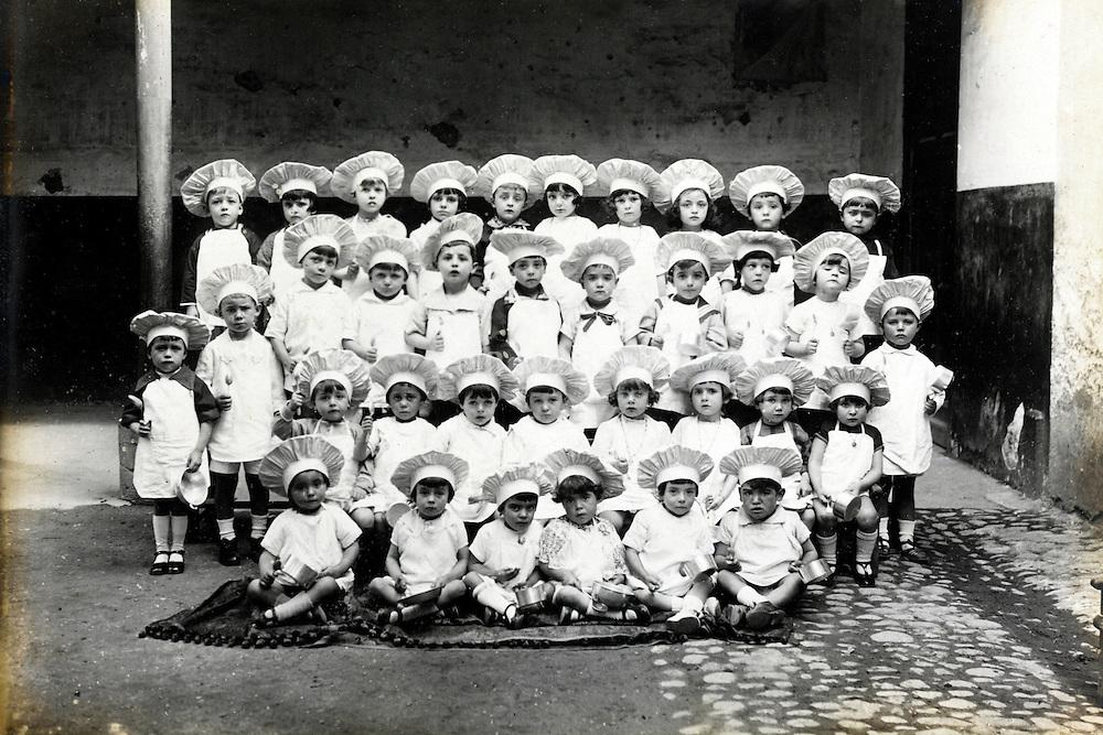 vintage formal group photo of little children dressed up as cook France
