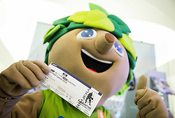 Mascot Lipko with a ticket during press conference of Basketball Federation of Slovenia - KZS when signing a contract with Tourist agency Kompas for selling Eurobasket 2015 tickets, on March 2, 2015 in Ljubljana, Slovenia. Photo by Vid Ponikvar / Sportida