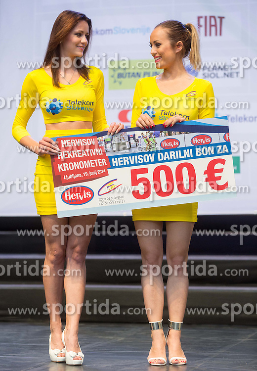 Manja Dobrilovic and Katarina Bencek at flower ceremony after the Stage 1 of 21st Tour of Slovenia 2014 - Time Trial 8,8 km cycling race in Ljubljana, on June 19, 2014 in Slovenia. Photo By Vid Ponikvar / Sportida