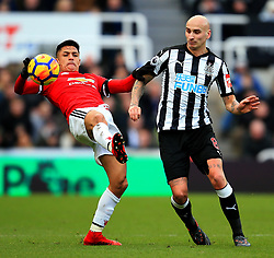 Alexis Sanchez of Manchester United and Jonjo Shelvey of Newcastle United - Mandatory by-line: Matt McNulty/JMP - 11/02/2018 - FOOTBALL - St James Park - Newcastle upon Tyne, England - Newcastle United v Manchester United - Premier League