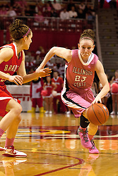 12 February 2012:  Jamie Russell hustles past Catie O'Leary during an NCAA women's basketball game Where the Bradley Braves lost to the Illinois Sate Redbirds 82-63.  It was Play 4Kay day in honor of the cancer research fund set up by Coach Kay Yow at Redbird Arena in Normal IL