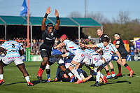 Rugby Union - 2019 / 2020 European Rugby Heineken Champions Cup - Pool Four: Saracens vs. Racing 92<br /> <br /> Racing 92's Teddy Iribaren clears under pressure from Saracens' Maro Itoje, at Allianz Park.<br /> <br /> COLORSPORT/ASHLEY WESTERN