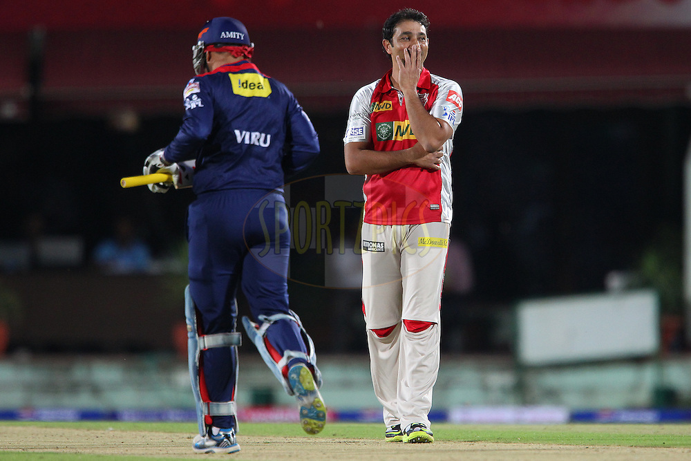 Azhar Mahmood reacts after bowling during match 67 of the Pepsi Indian Premier League between The Kings XI Punjab and the Delhi Daredevils held at the HPCA Stadium in Dharamsala, Himachal Pradesh, India on the on the 16th May 2013..Photo by Ron Gaunt-IPL-SPORTZPICS ..Use of this image is subject to the terms and conditions as outlined by the BCCI. These terms can be found by following this link:..http://www.sportzpics.co.za/image/I0000SoRagM2cIEc