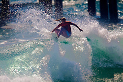 HUNTINGTON BEACH, California/USA (Saturday,Aug 6, 2011)  Lakey Peterson rips a wave on her way to win the Hurley US Open of Surfing PRO Junior.  Photo: Eduardo E. Silva.