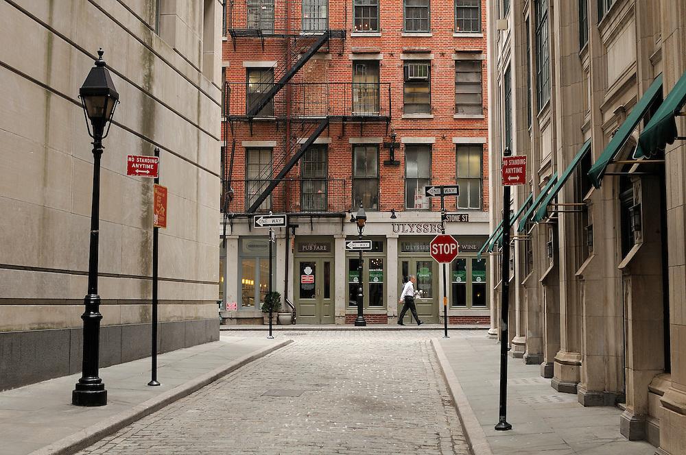 Historic Stone Street, Financial District, Manhattan, New York, New York, USA