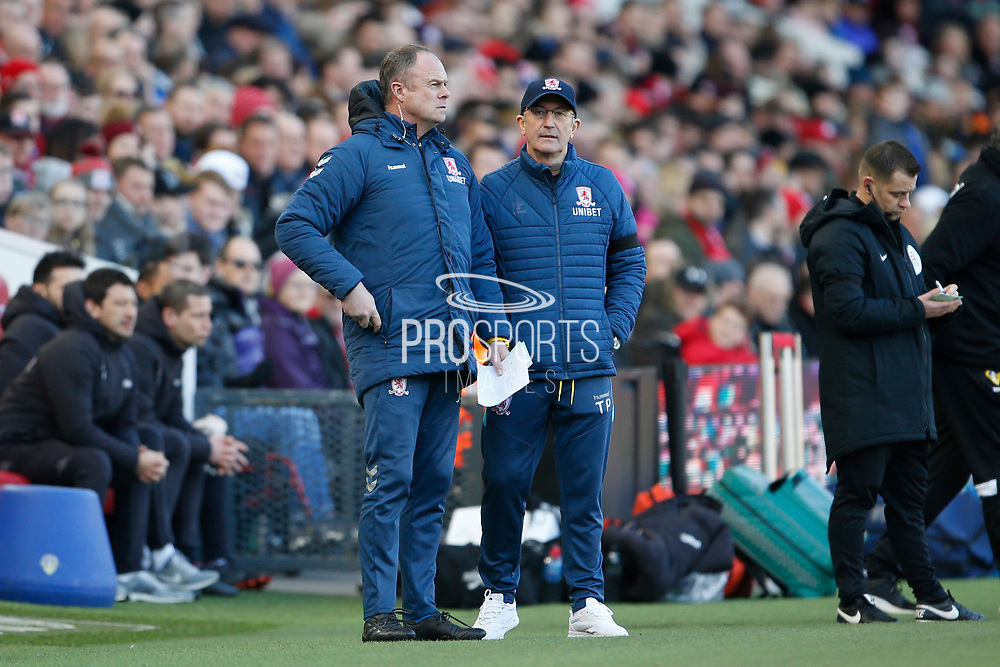 Middlesbrough Manager Tony Pulis and Middlesbrough goalkeeping coach Jonathan Gould during the EFL Sky Bet Championship match between Middlesbrough and Leeds United at the Riverside Stadium, Middlesbrough, England on 9 February 2019.