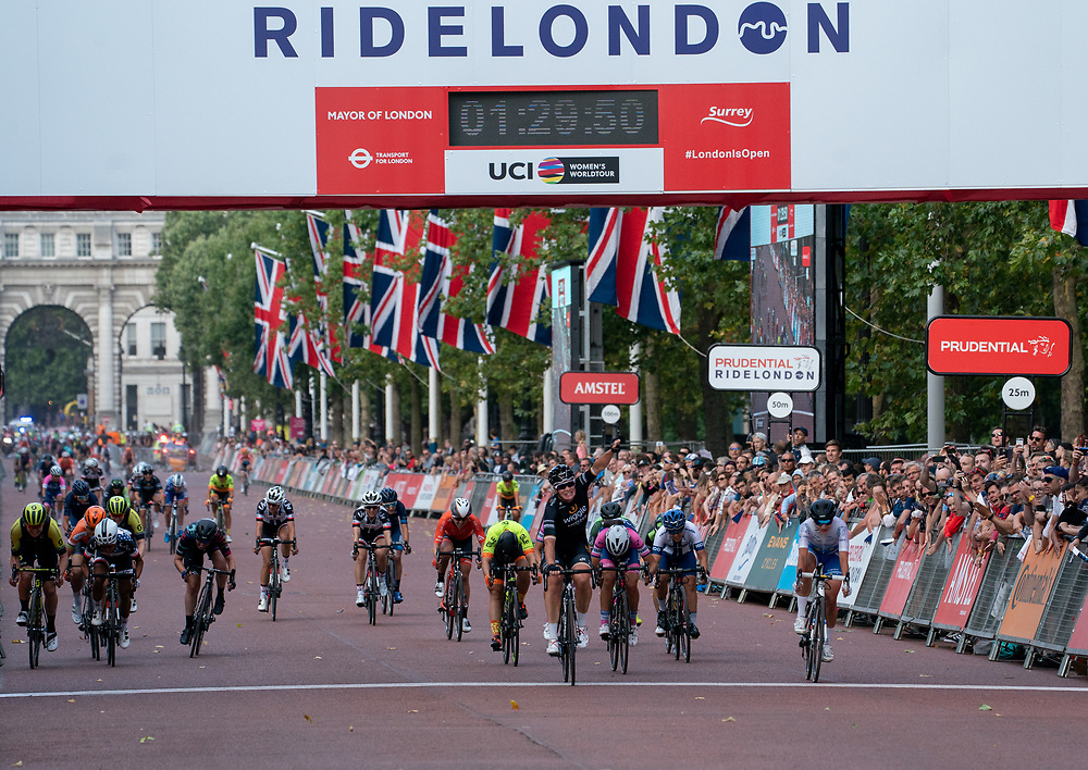 Kirsten WILD (NED) Wiggle High5 crosses the line to win The Prudential RideLondon Classique. Saturday 28th July 2018<br /> <br /> Photo: Bob Martin for Prudential RideLondon<br /> <br /> Prudential RideLondon is the world's greatest festival of cycling, involving 100,000+ cyclists - from Olympic champions to a free family fun ride - riding in events over closed roads in London and Surrey over the weekend of 28th and 29th July 2018<br /> <br /> See www.PrudentialRideLondon.co.uk for more.<br /> <br /> For further information: media@londonmarathonevents.co.uk