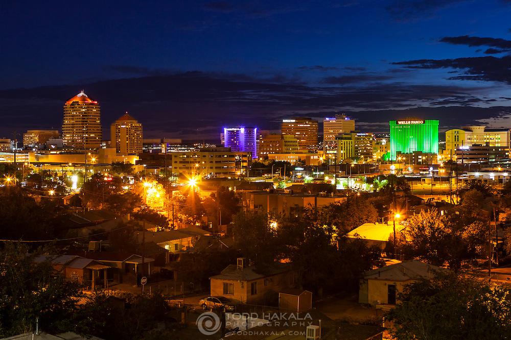 Albuquerque skyline at sunset on a summer evening.