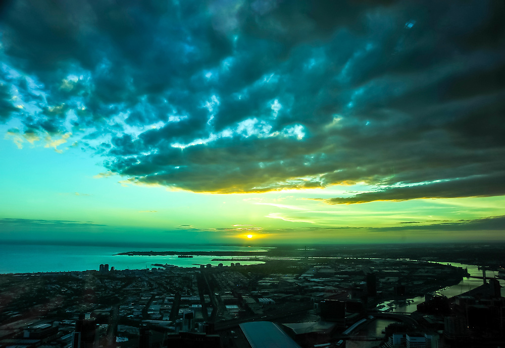 A blue sunset over the Australia city of Melbourne, as seen from the Eureka Skydeck tower