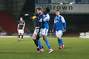 Craig Wighton of Dundee holds off St Johnstone's on loan from Manchester United midfielder Matty Willock - St Johnstone v Dundee in the SPFL development league at McDiarmid Park, Perth<br /> <br />  - &copy; David Young - www.davidyoungphoto.co.uk - email: davidyoungphoto@gmail.com