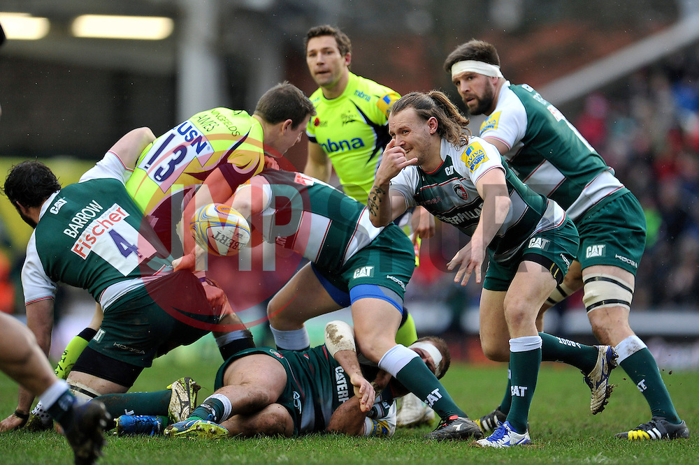 Sam Harrison of Leicester Tigers passes the ball - Mandatory byline: Patrick Khachfe/JMP - 07966 386802 - 06/02/2016 - RUGBY UNION - Welford Road - Leicester, England - Leicester Tigers v Sale Sharks - Aviva Premiership.