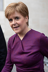 © Licensed to London News Pictures. 08/12/2019. London, UK. First Minister of Scotland Nicola Sturgeon departs the BBC after appearing on The Andrew Marr Show. Photo credit: George Cracknell Wright/LNP