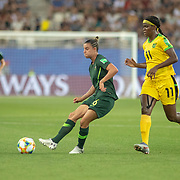 GRENOBLE, FRANCE June 18. Chloe Logarzo #6 of Australia defends by Khadija Shaw #11 of Jamaica during the Jamaica V Australia, Group C match at the FIFA Women's World Cup at Stade des Alpes on June 18th 2019 in Grenoble, France. (Photo by Tim Clayton/Corbis via Getty Images)