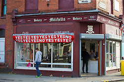 LIVERPOOL, ENGLAND - Thursday, May 5, 2016: Community bakery Home Baked displayed a banner of the Hillsborough Inquest Verdicts before the UEFA Europa League Semi-Final 2nd Leg match against Villarreal CF at Anfield. (Pic by David Rawcliffe/Propaganda)